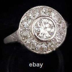 Art Deco GIA Transitional & Old European Cut Diamond Ring Halo Platinum Vintage