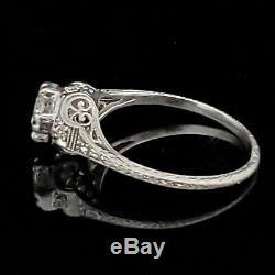 Art Deco Old European Cut Diamond Platinum Ring Engagement or Fashion c. 1920s