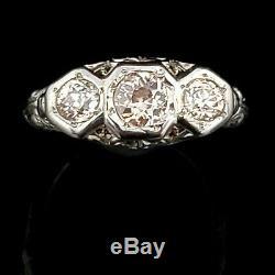 Art Deco Old European Cut Diamond Three Stone Ring 14k White Gold Filigree Gift