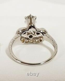 Art Deco Platinum Old Mine Cut Diamonds Hand Etched Crown Ring 0.76 ctw 4.9 g