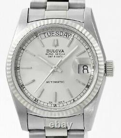BULOVA Super Seville Day Date New Old Stock Stainless Steel Mens Wrist Watch
