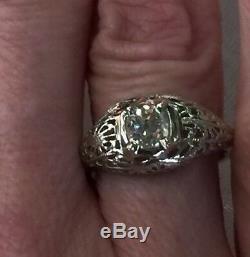 C1910 ANTIQUE 14K WHITE GOLD. 68C OLD MINE CUT DIAMOND FILIGREE RING Size 6 1/2