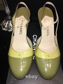 Chanel Vintage Slingback Patent Pump, Size Old Euro 39 1/2, US 8.5M Lime/Olive