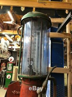 Early OLD G&B 176 Visible GAS PUMP Vintage Antique Oil BLUE CYLINDER Station WOW