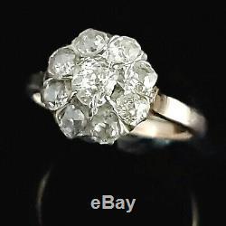 Edwardian Old Mine Cut Diamond 14k Yellow Gold Platinum Ring Engagement Halo