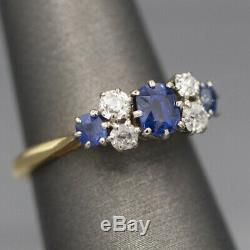 Edwardian Platinum and 18k Sapphire and Old Mine Cut Diamond Ring