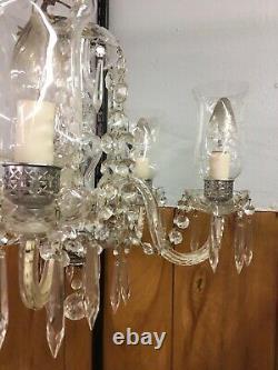 Elegant 5 Arm Antique Etched Crystal Chandelier Over 100 Yrs Old Original Works