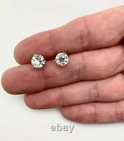 Estate Antique Platinum Old European Cut 3.02 CTW Diamond Stud Earrings 1.7 Gr