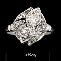 Estate Old European Cut Diamond 14k White Gold Toi At Moi Ring Gift