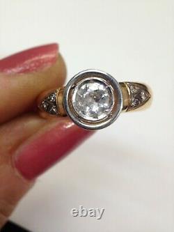 Fabulous Antique 18K Gold Bezel Set. 60CT Old Mine Cut Diamond Ring Size 6
