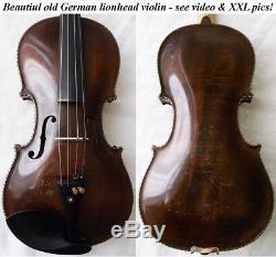 Fine Old Lionhead Violin Video Antique Rare Lion Head 114