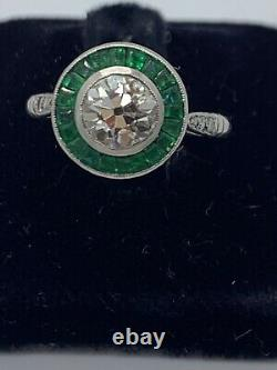 GORGEOUS VINTAGE Art Deco Platium Old Mind Cut Diamond &Emerald Engagement Ring
