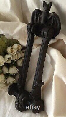 Kenrick & Son Bat Old cast iron door knocker ornate Heavy Vintage Found France