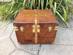LOUIS VUITTON Antique Leather Steamer Trunk vintage chest lv old purse bag rare