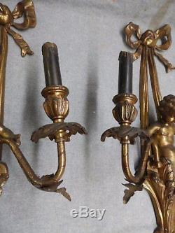 Large Vtg Sconce Pair Gold Gilded Cherubs Old French Wall Light Fixture 460-16