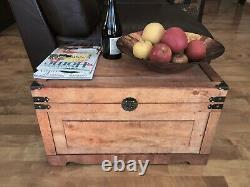 Medium Newport Old Fashioned Wood Storage Trunk Wooden Treasure Chest Brown