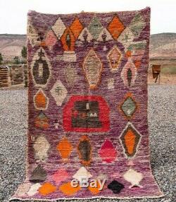 Moroccan Boujad rug 100% Wool Handmade Old vintage Berber carpet (5Ft x 8,7 FT)