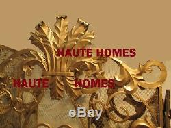 NEW Horchow French Acanthus Antique ORNATE Old World GOLD Fireplace Screen