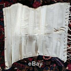 OLD Antique 19th century Victorian long overbust CORSET Large Sz 40-30-43