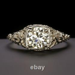 OLD CUT. 89ct DIAMOND VINTAGE ENGAGEMENT RING WHITE GOLD ANTIQUE FILIGREE FLORAL