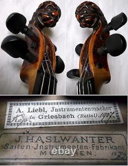 OLD GERMAN LIONHEAD VIOLIN J. Haslwanter 1872 video ANTIQUE 508