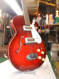 OLD VINTAGE 1960's Harmony Rocket H-54 Red Sunburst with CASE ELECTRIC GUITAR