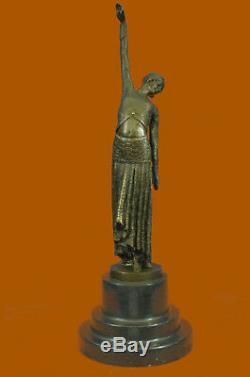 Old Chiparus Dancer Lady Sculpture Figure Vintage Deco Nouveau Bronze Demetre T