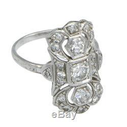 Old European Cut Diamonds Platinum 1920s Antique Art Deco Cocktail Ring 0.75ctw