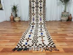 Old Moroccan Handmade Runner Rug 2'3x9'4 Vintage Brown Ivory Handmade wool Rug