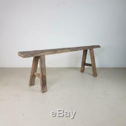 Old Rustic Antique Vintage Wooden Waxed Pig Bench Long Pb125