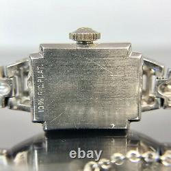 Old Vintage Antique Platinum Diamond Hamilton Wrist Watch, TCW-1.84