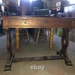 Old Vintage Antique Style Hall Console Refectory Table Solid Pine Shabby Chic