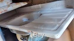 Old Vintage Farmhouse Porcelain Metal Sink, Double Drain Board Drop In 50lbs