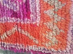 Old Vintage Moroccan Handmade Boujad Boujaad Rug Berber Wool Rug 8.8 ft X 6.3 ft