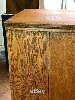 Old Vintage Oak Flat File Letterpress Jewelry Organizer Apothecary Cabinet