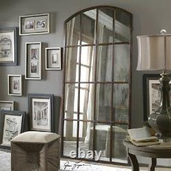 Old World Tuscan Antiqued Window Pane Arch Mirror Leaner Wall Floor XL 82