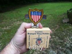 Original 1940' s Vintage ww2 US Flag License plate topper Emblem nos Rat Hot rod