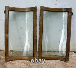 Pair 16x27 Antique Vintage Old Oak CURVED Bowed Wavy Glass Cabinet Doors Window
