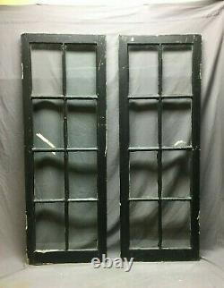Pair 19 x 54 Antique 8 Lite Casement Window Vtg Cabinet French Door Old 231-20B