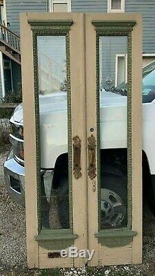 Pair Antique Double Entrance Doors 19x84 Shabby Vtg Chic Old Display 71-20J