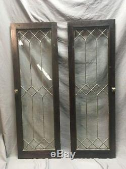 Pair Leaded Glass Diamond Casement Door Bookshelf Cabinet 16x48 Vtg Old 130-18C
