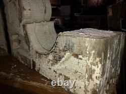 Pair vintage Victorian age corbel porch brackets 1880 15 x 13 x 3.75 old white