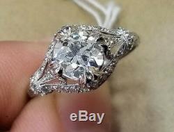 Platinum Vintage ANTIQUE RING OLD MINE CUT Diamond 1.36ct VS1-H