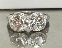 Platinum Vintage ANTIQUE art deco ring ROUND OLD mine cut diamond 5.12ct