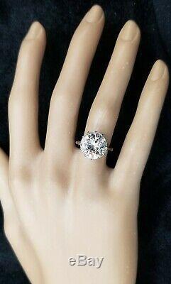 Platinum Vintage Engagement ring natural round old euro cut diamond 5.72ct. I1-H