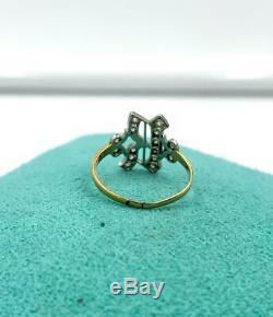 R Initial Ring Old Mine Cut Diamond Platinum Antique Victorian Edwardian