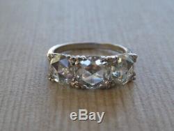 REDUCED Genuine Antique Platinum three old rose cut trilogy 3 stone ring
