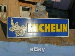 Rare 1930's Old Antique Vintage Michelin Tyres Ad. Porcelain Enamel Sign Board