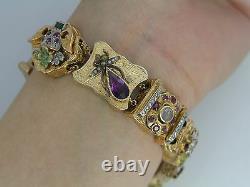 Rare Vintage Victorian 14K Yellow Gold Duke Old Mine Diamond Charm Bracelet 7.5