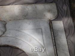 Real Antique Carved White Marble Fireplace Mantel Keystone Badge Old VTG 1203-16